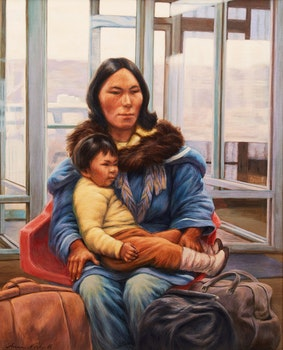 Artwork by Anna Noeh, Contemporary Nomads at the Airport
