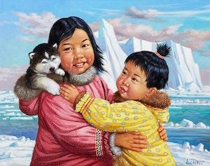 Artwork by Nori Peter, Inuit Children