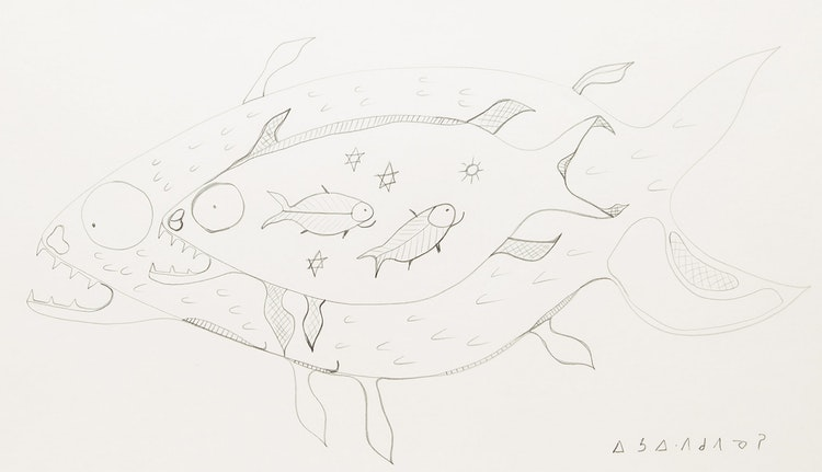 Artwork by Norval Morrisseau,  Untitled (Fish X-Ray Vision)