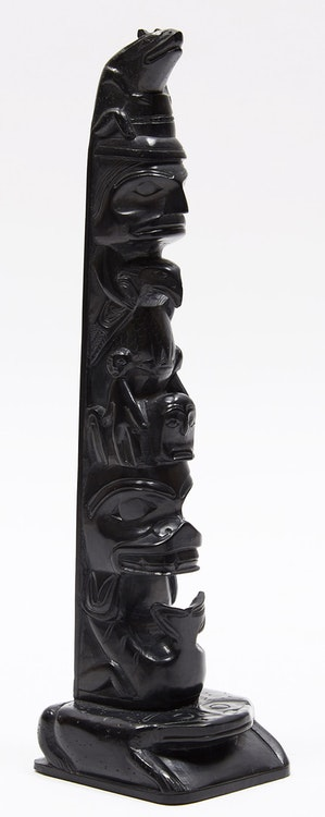 Artwork by Rufus Moody,  Totem with Fish, Rabbit, Eagle, Human and Frog Motifs