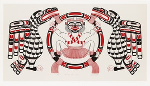Artwork by Richard Hunt, Hamatsa Dance Screen