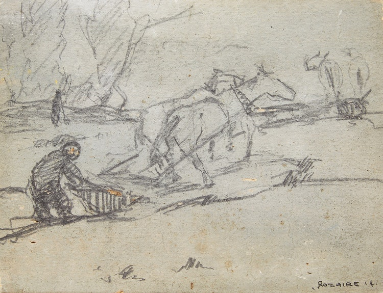 Artwork by Arthur Dominique Rozaire,  Canadian Farmer with Horses and Plow