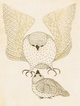Artwork by Kananginak Pootoogook, Opik and Kopineuva