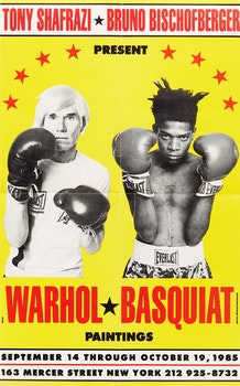 Artwork by Michael Halsband, Exhibition Poster Warhol/Basquiat, Paintings at Shafrazi Gallery, New York, September 14 -October 19, 1985
