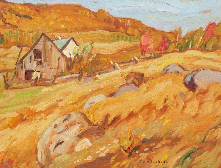Artwork by Alexander Young Jackson,  Quebec Farm, Autumn