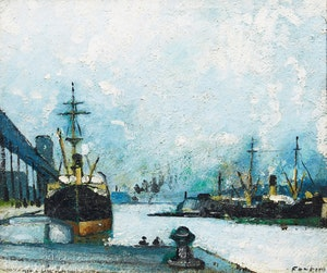 Artwork by Marc-Aurèle Fortin, Montreal, le Port