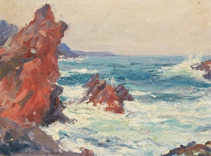 Artwork by Manly Edward MacDonald, Waves and Rocky Shore