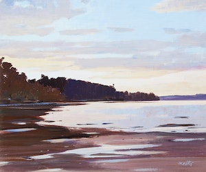 Artwork by Donald Appelbe Smith, Sunlit Falls - Rousseau, Ont.; Sunset Near Yellow Point