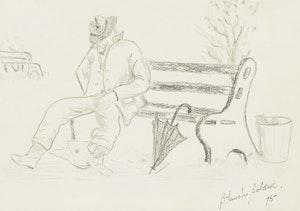 Artwork by Blanche Bolduc, Sleeping Man on Bench