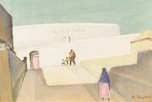 Artwork by Frederick Bourchier Taylor, The Bull Ring, Mijas (Malaga, Spain)