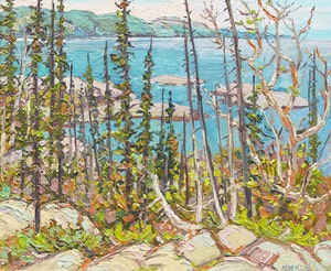 Artwork by Lawrence Nickle, Michipicoten Harbour Toward Brule Harbour,  Lake Superior