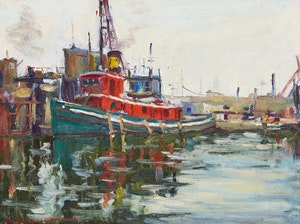 Artwork by Manly Edward MacDonald, Tugboat in Toronto Harbour