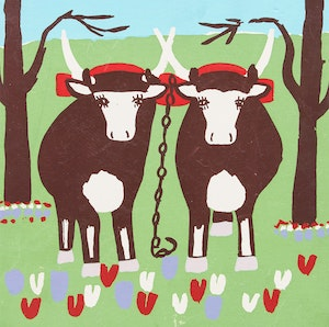 Artwork by Maud Lewis, Oxen