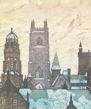 Artwork by Nicholas Hornyansky, Towers of the University, Toronto