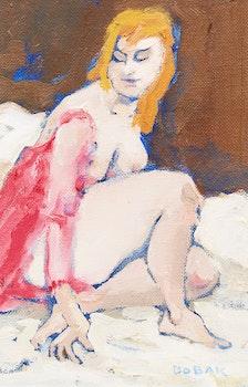Artwork by Bruno Joseph Bobak, Nude in a Pink Wrap