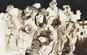 Artwork by Ronald York Wilson, Crowd of Ghoules