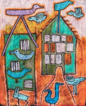 Artwork by Gérard Tremblay, House with Birds