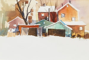 Artwork by Geoffrey David Armstrong, Just a Shanty in Old Shanty Town; Farm in Winter