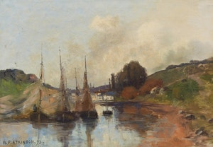 Artwork by William Edwin Atkinson, Boats on the River