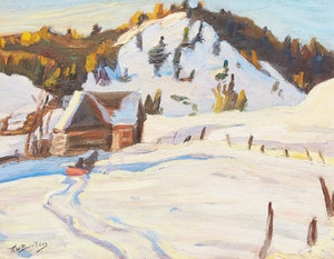 Artwork by Ralph Wallace Burton, Winter Landscape with Sleigh; Autumn Landscape