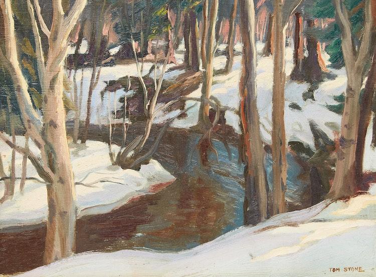 Artwork by Thomas Albert Stone,  Woods and Stream, Near Kearney