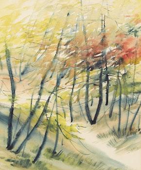 Artwork by Marjorie Pigott, Autumn Landscape; Trees