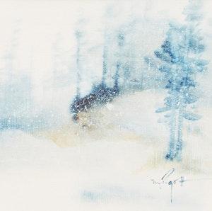 Artwork by Marjorie Pigott, Winter Landscape; Summer Landscape