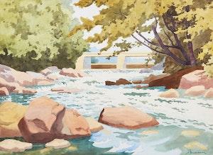 Artwork by Arthur Drummond, Below the Dam on Guild River, Haliburton