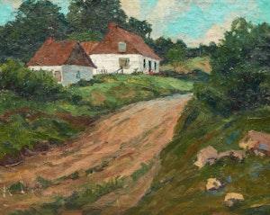 Artwork by Paul Barnard Earle, Country Lane with Farmhouse