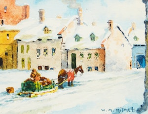 Artwork by Willard Morse Mitchell, Houses on St. Vincent Street, Montreal; Cape Trinity