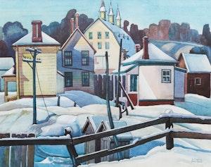 Artwork by  Peter & Bobs Cogill Haworth, Village in Winter; Winter Village Scene; Village in Spring; Autumn Village Scene