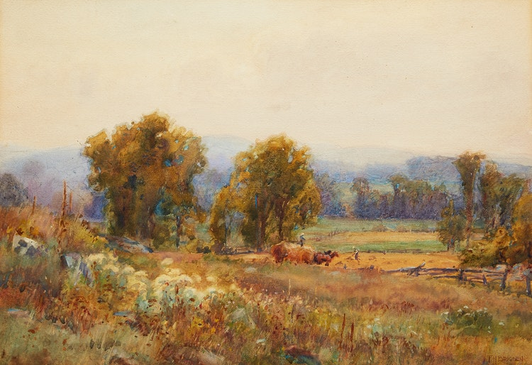 Artwork by Frederick Henry Brigden,  Bringing in the Hay