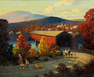 Artwork by Lorne Kidd Smith, Landscape with Covered Bridge