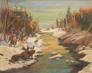 Artwork by Ralph Wallace Burton, The Moose Hunt