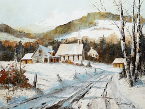 Artwork by Claude Langevin, Village in Winter