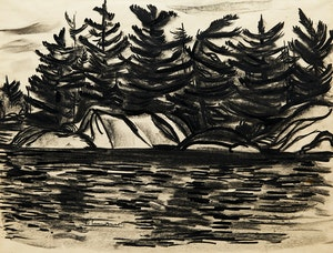 Artwork by Fritz Brandtner, Untitled (Trees on a Rocky Shore)