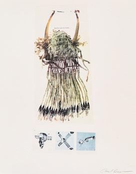 Artwork by Carl Beam, Blackfoot split-horn bonnet; Robert Johnson; Durer