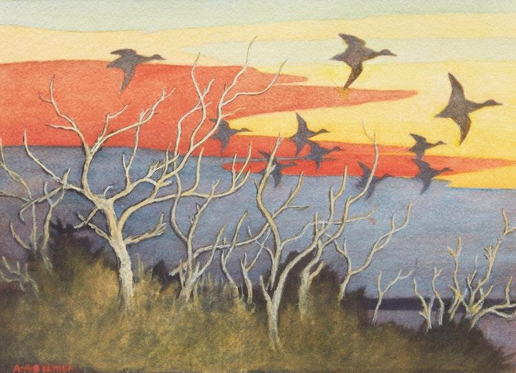 Artwork by Arthur Alexander Beemer,  Evening Flight, Black Ducks, Longue Pointe